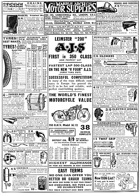 Marble Arch Motor Supplies. Motorcycle Sales & Parts Service 1936