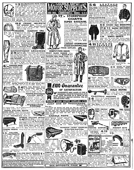 Marble Arch Motor Cycle Sales & Parts Stockists 1938