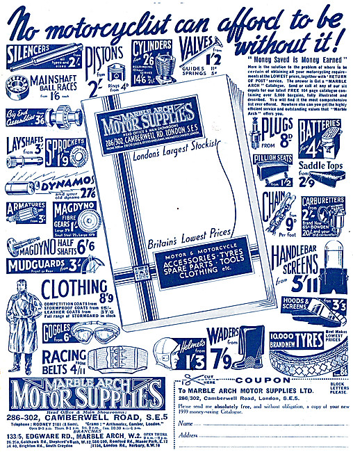 Marble Arch Motor Cycle Supplies 1939