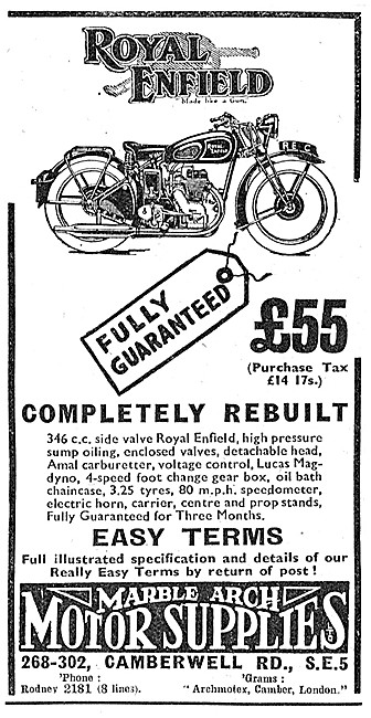 Marble Arch Motor Cycle Sales Ex WD Royal Enfields