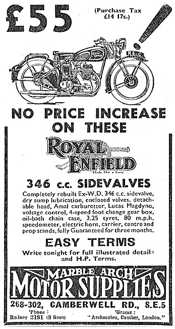 Marble Arch Motor Cycle Sales - ex WD Royal Enfield 350 SV
