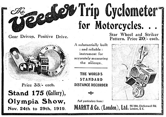Veeder Trip Cyclometer For Motor Cycles