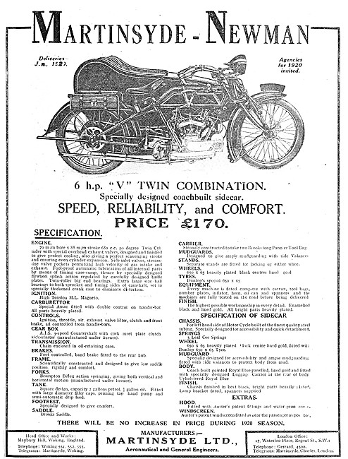 Martinsyde-Newman 6 hp V Twin Motor Cycle Combination 1919