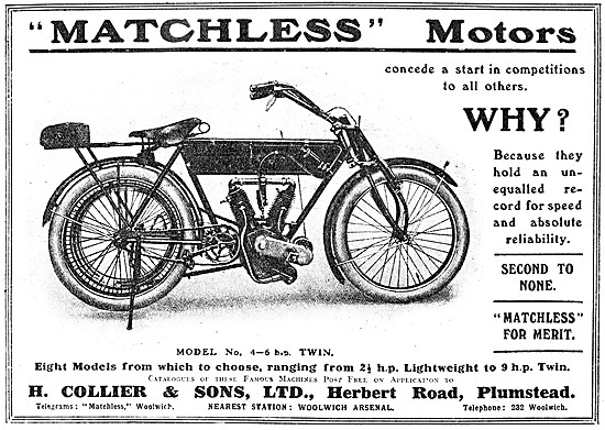 Matchless 4-6 hp V Twin Motor Cycle 1909