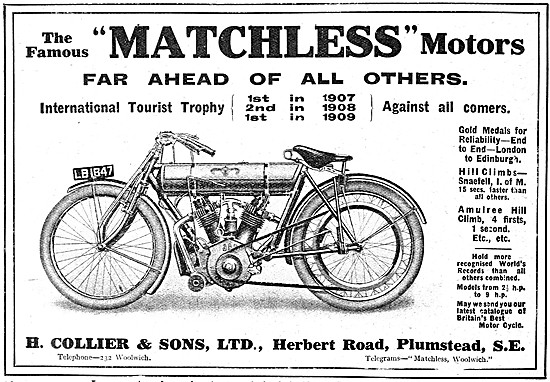 Matchless TT Motor Cycles 1909 - Matchless V Twin
