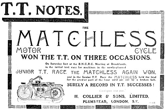 Matchless Racing Motor Cycles 1911