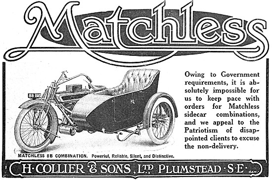 Collier Matchless 8 B Motor Cycle Combination 1915 Advert