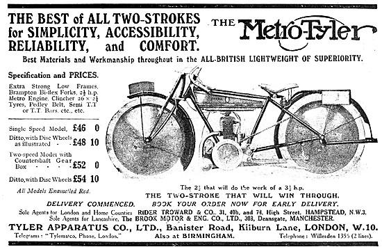 Metro-Tyler Motor Cycles 1919 Models