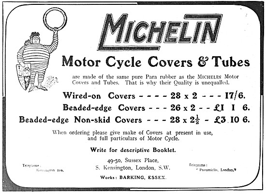 Michelin Motor Cycle Tyres 1908