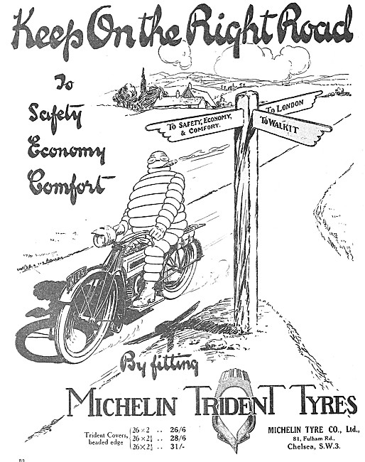 Michelin Trident  Motor Cycle Tyres - 1917 Michelin Man Advert