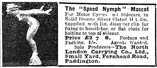 Speed Nymph Motor Cycle Mascot 1919