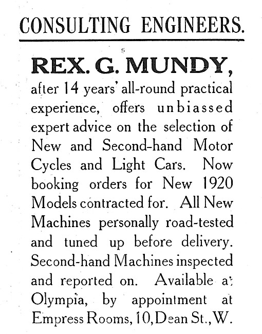 Rex G.Mundy Consulting Engineer 1919 Advert