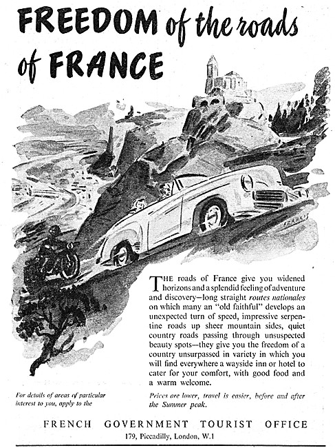 Visit France - French Government Tourist Office Advert 1953