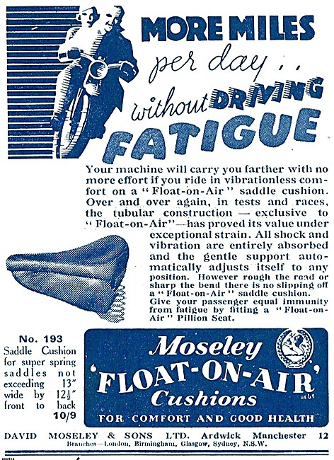 Moseley Float-On-Air Cushions - Moseley Motor Cycle Seat Cushions
