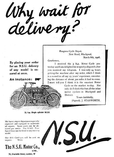 1908 N.S.U. Motor Cycle Advert