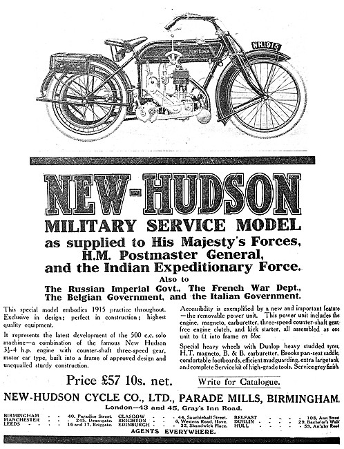 1914 New-Hudson Military Service Model Motor Cycle