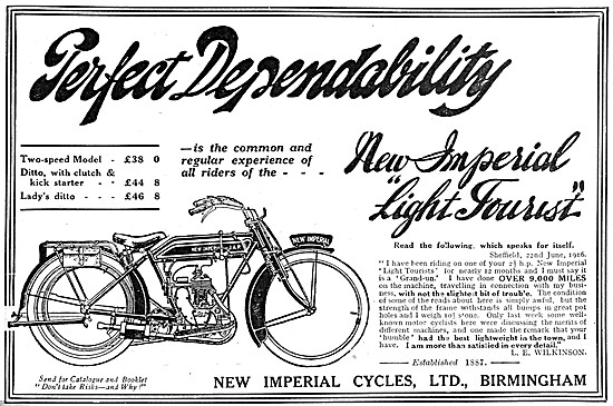 1916 New Imperial Light Tourist Motor Cycle