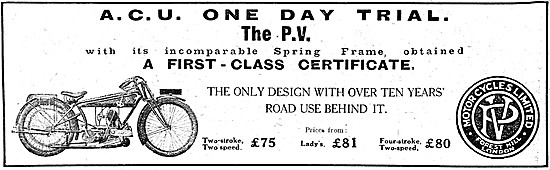 P.V. Two-Stroke Motorcycles 1921 Advert