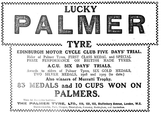 Palmer Motor Cycle Tyres 1909 Advert - Palmer Cord Tyres
