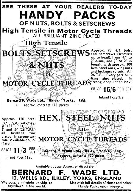 Wade Motorcyclists Nuts & Bolts Handy Packs