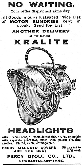 Percy Exralite Motorcycle Headlights 1908