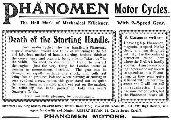 Phänomen Motor Cycles 1908 Advert