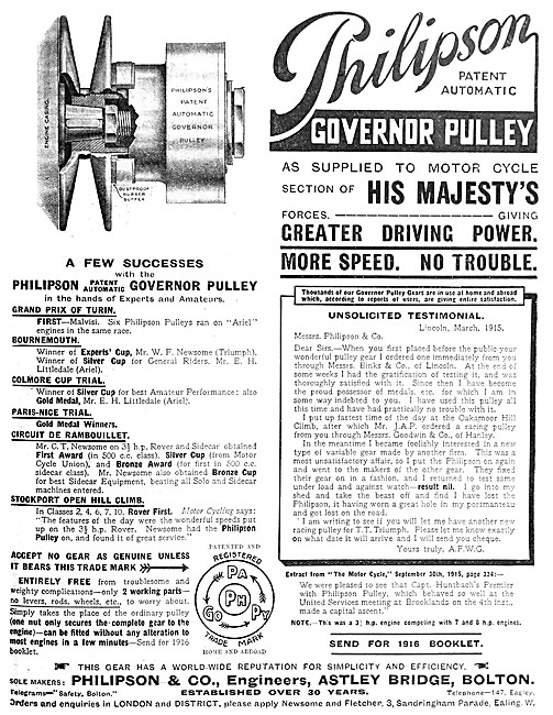 Philipson Automatic Motor Cycle Governer Pulley