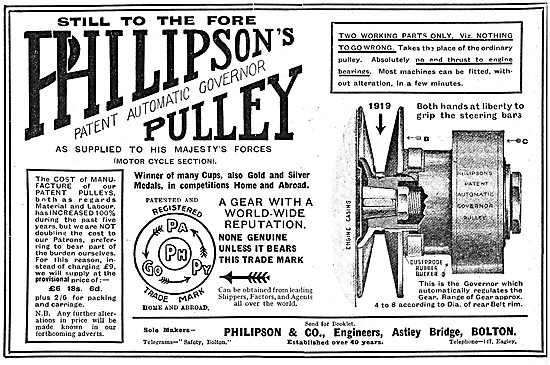 Philipson's Motor Cycle Pulley