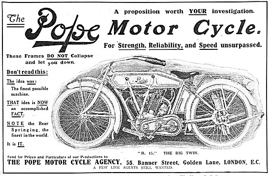 Pope Motor Cycles - 1915 Pope R 15 Big Twin Motor Cycle