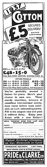 Pride & Clarke Motor Cycle Sales. Cotton 600 cc OHV