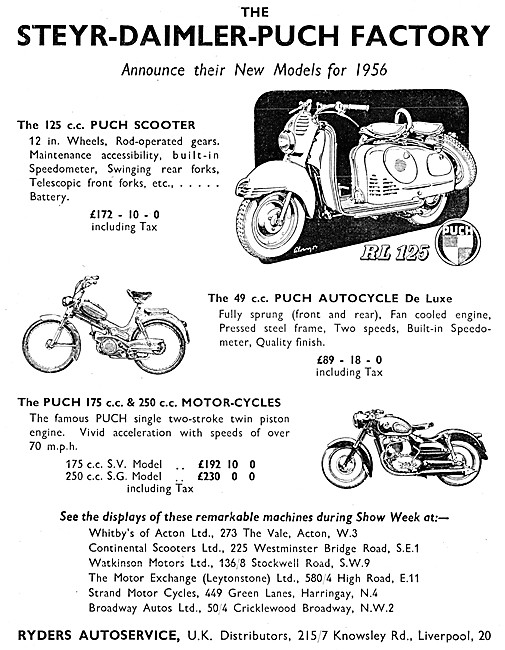 Puch RL 125 - Puch Autocycle - Puch 175 S.V. - Puch 250 S.G.