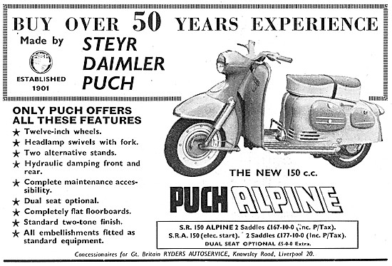 Puch Alpine Motor Scooter 150 cc - Puch S.R. 150 Alpine