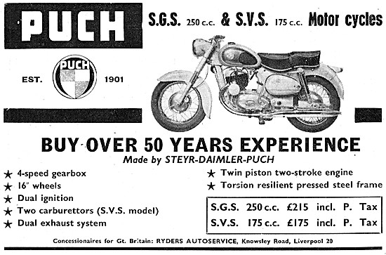 Puch Motor Cycles - Puch SGS 250 cc - Puch SVS 175 cc
