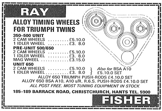 Ray Fisher Alloy Timing Wheels For Triumph Twins