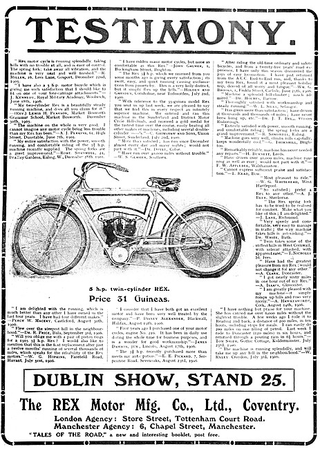 1907 Rex 5 hp V Twin Cylinder Motor Cycle