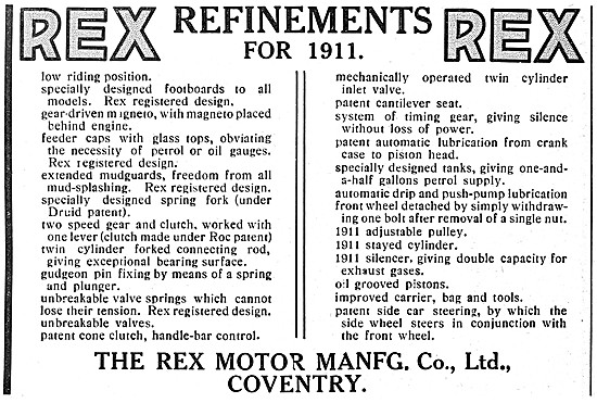 1911 Rex Motor Cycle Features