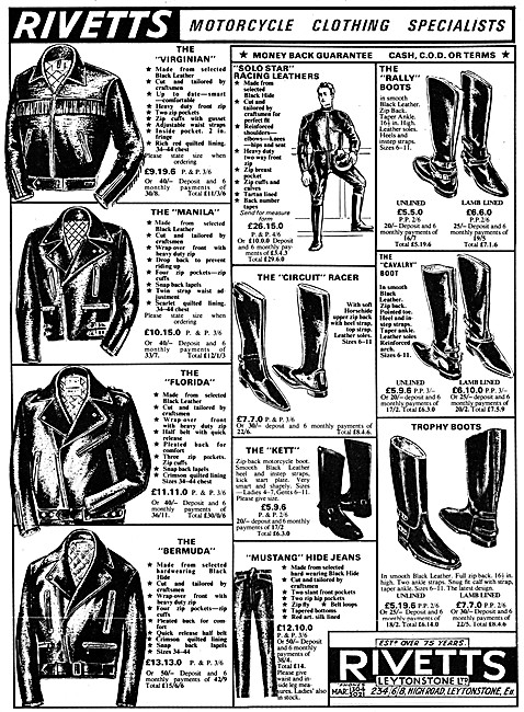 Rivetts Motorcycle Leathers 1966