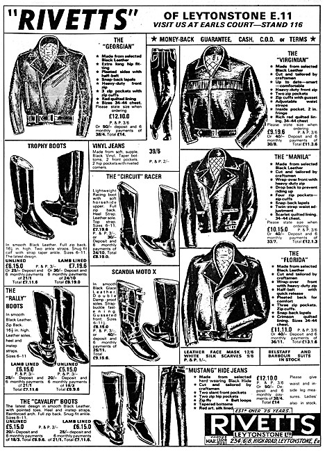 Rivetts Motor Cycle Leathers & Riding Boots 1966