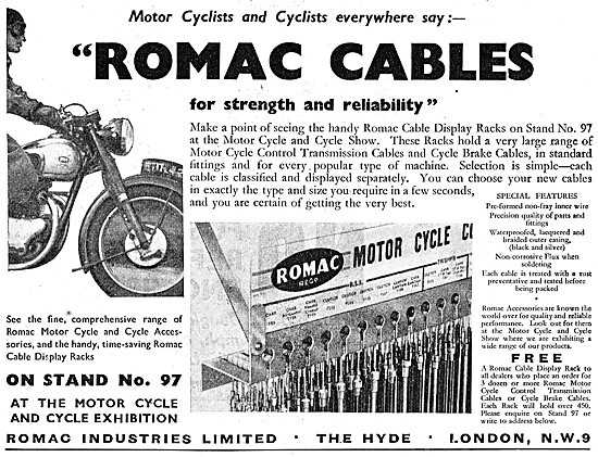 Romac Motor Cycle Control Cables