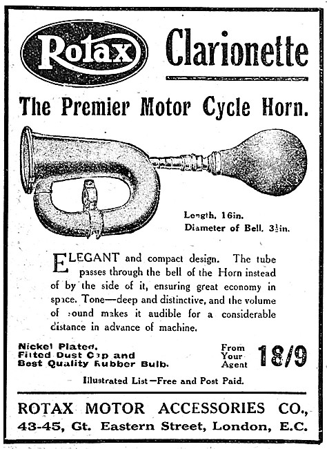 Rotax Clarionette Motor Cycle Horn - Clarionette Road Clearer