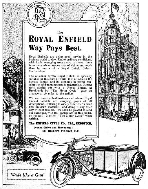 Royal Enfield Delivery Motor Cycles 1916
