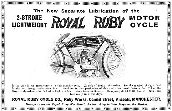 1914 Royal Ruby Two-Stroke Lightweight  Motor Cycles