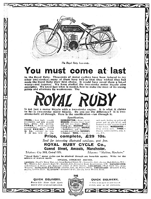 Royal Ruby Two-Stroke Motor Cycles
