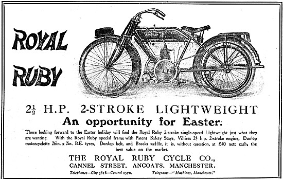 1919 Royal Ruby 2 1/2 hp Two-Stroke Lightweight Motor Cycle