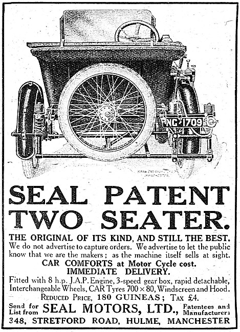 Seal Motor Cycles - Seal Patent Two Seater Combination