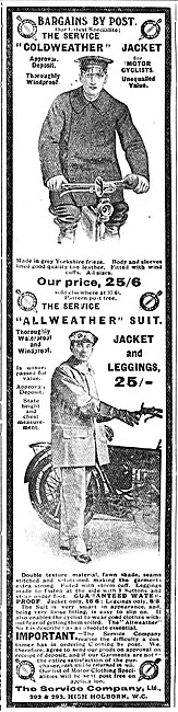 1908 Service Company Motor Cycle Clothing Advert