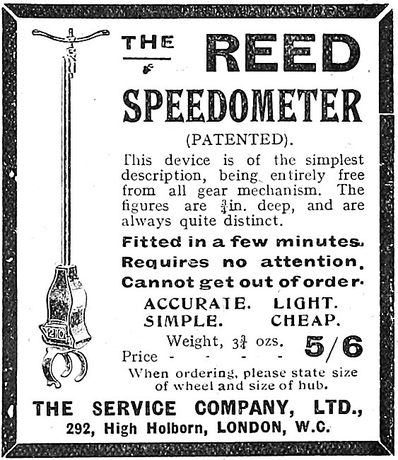 The Service Company Motor Cycle Accessories. Reed Speedometer