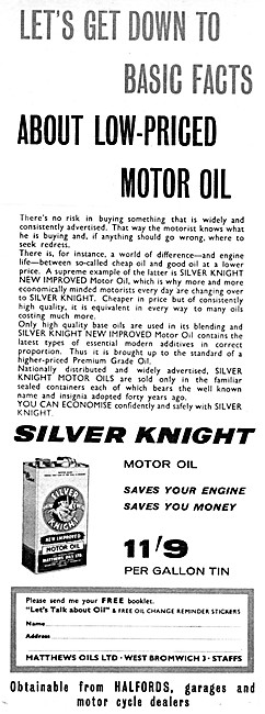 Silver Knight Engine Oil 1962