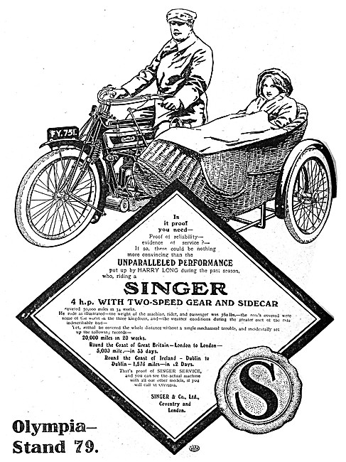 4 hp Singer Motor Cycle Combination 1912