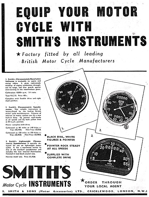 Smiths Motor Cycle Instruments - Smiths Speedometers